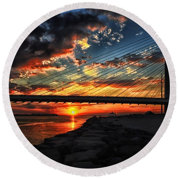Sunset Bridge At Indian River Inlet Round Beach Towel