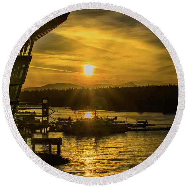 Sunset By The Convention Centre Round Beach Towel