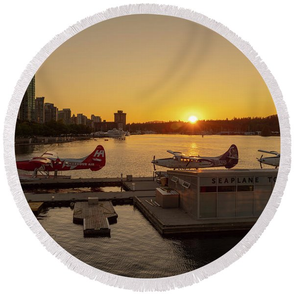 Sunset By The Seaplanes Round Beach Towel