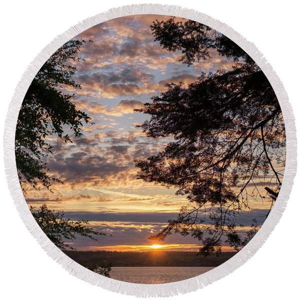 Round Beach Towel featuring the photograph Sunset Caressed By Tree Branch by Mary Lee Dereske