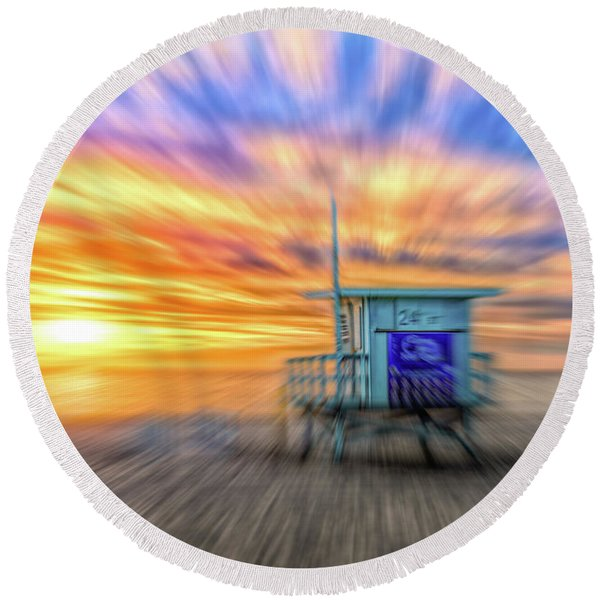 Round Beach Towel featuring the photograph Sunset In Motion by Michael Hope