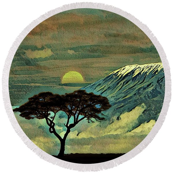 Sunset In Serengeti Round Beach Towel