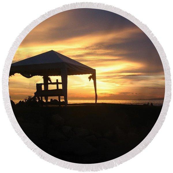 Sunset Massage Round Beach Towel
