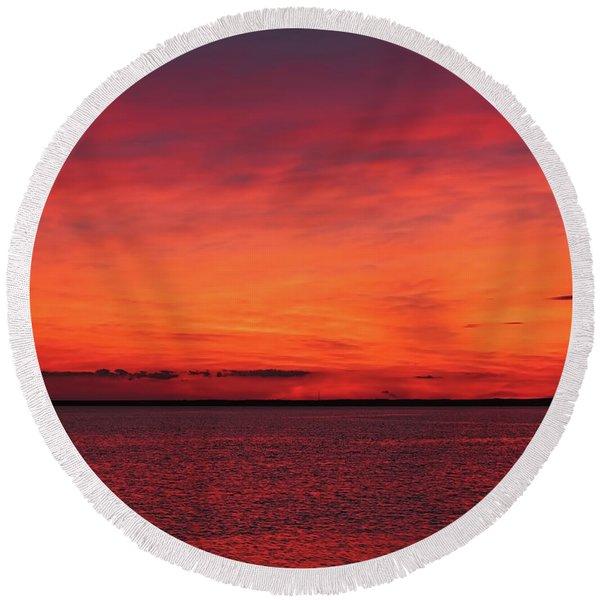 Sunset On Jersey Shore Round Beach Towel