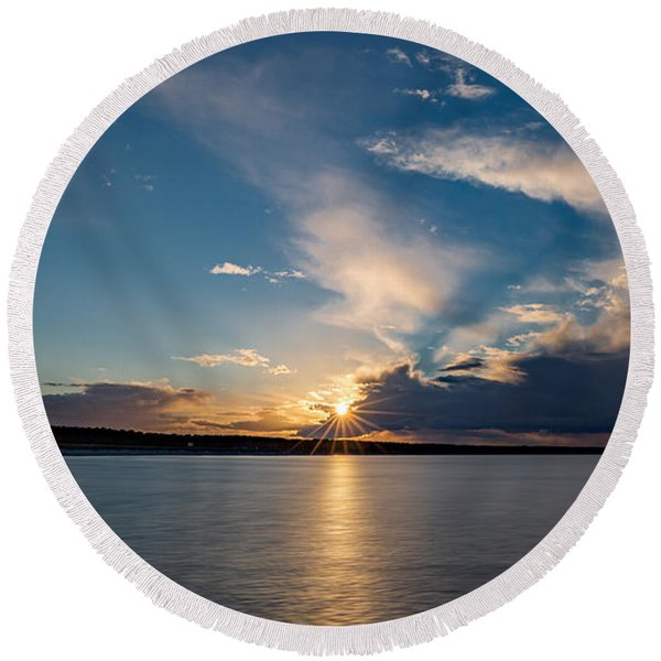 Sunset On The Baltic Sea Round Beach Towel