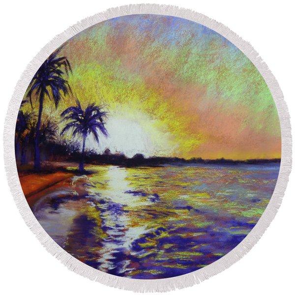 Sunset On The Sea Round Beach Towel