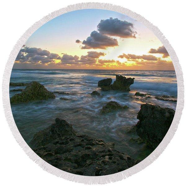 Sunset Seas Round Beach Towel