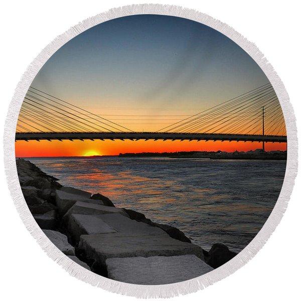 Sunset Under The Indian River Inlet Bridge Round Beach Towel
