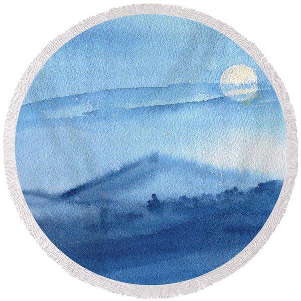 Super Moon Round Beach Towel