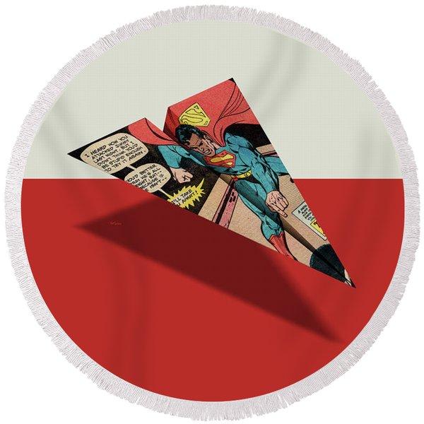 Superhero Showdown Ad6 Comic Book Paper Airplane Round Beach Towel
