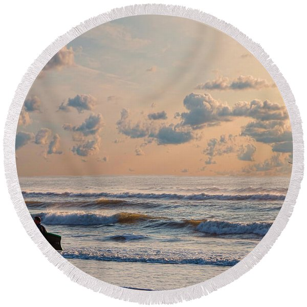 Surfing At Sunrise On The Jersey Shore Round Beach Towel