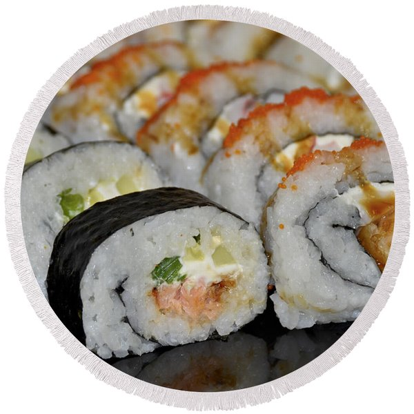 Round Beach Towel featuring the photograph Sushi Rolls From Home by Carolyn Marshall
