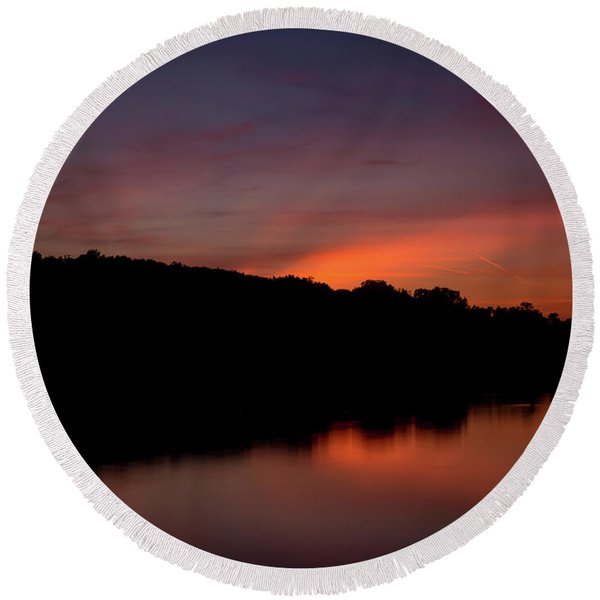 Suwannee Sundown Round Beach Towel