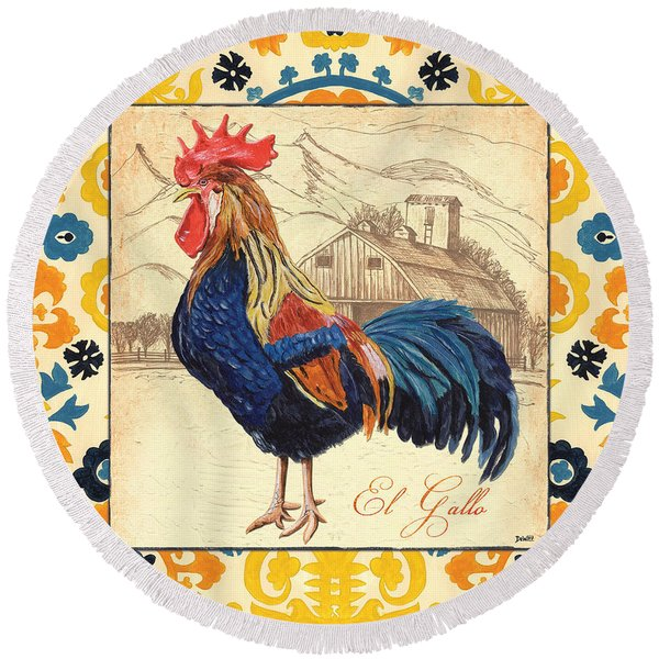 Suzani Rooster 1 Round Beach Towel