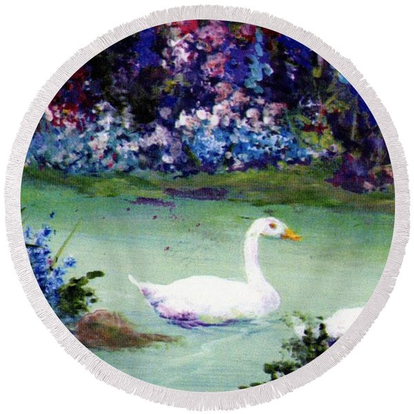 Round Beach Towel featuring the mixed media Swan Lake by Writermore Arts
