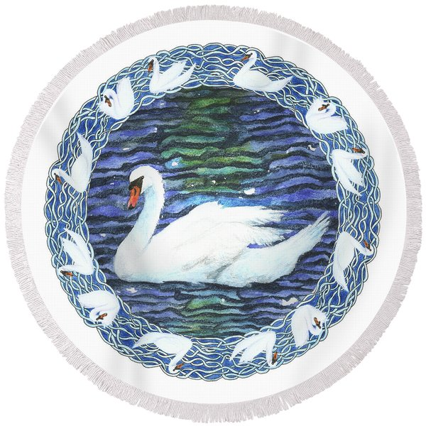 Swan With Knotted Border Round Beach Towel