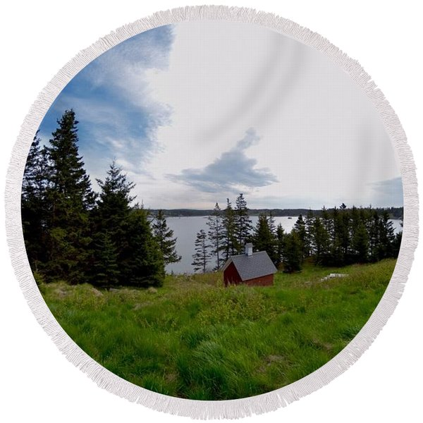 Swans Island Bay Round Beach Towel