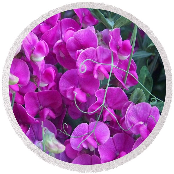 Sweet Pea Round Beach Towel