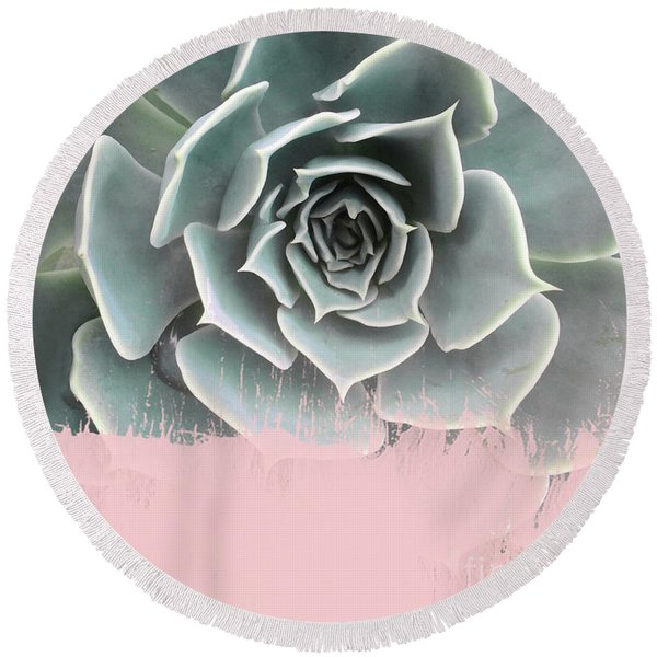 Sweet Pink Paint On Succulent Round Beach Towel