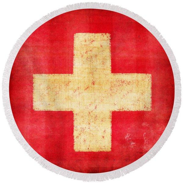 Switzerland Flag Round Beach Towel