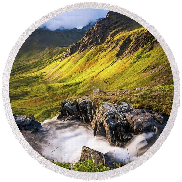 Round Beach Towel featuring the photograph Synclavier Foothills by Tim Newton