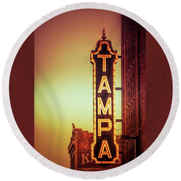 Round Beach Towel featuring the photograph Tampa Theatre by Carolyn Marshall