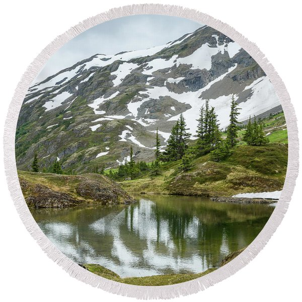 Round Beach Towel featuring the photograph Tarns Of Nagoon 209 by Tim Newton