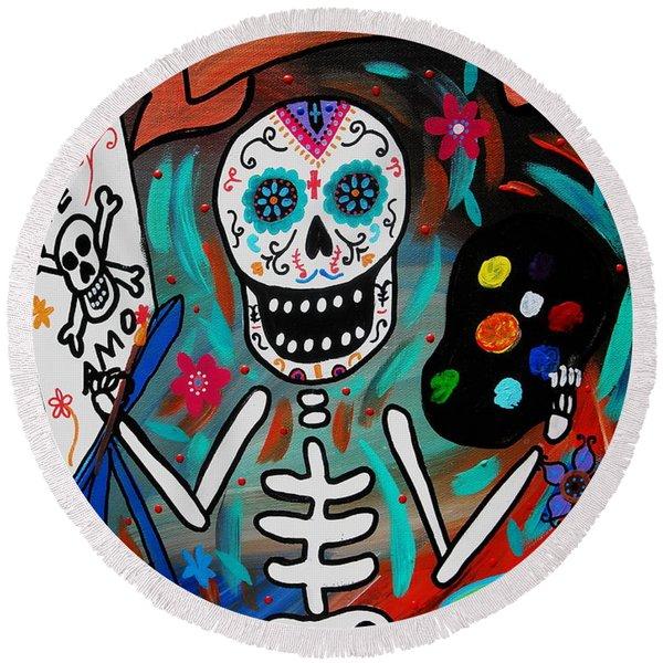Te Amo Painter Dia De Los Muertos Round Beach Towel