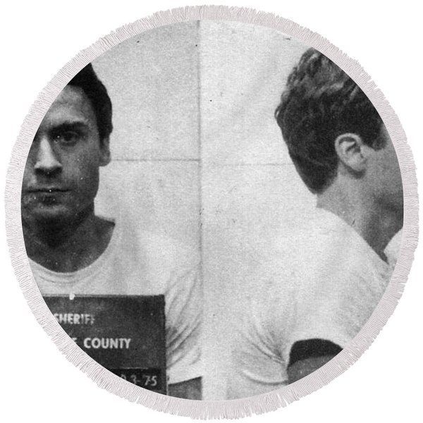 Ted Bundy Mug Shot 1975 Horizontal  Round Beach Towel