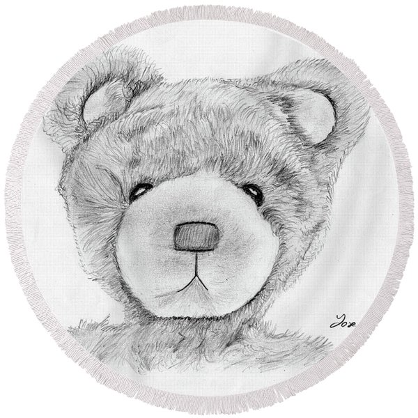 Teddybear Portrait Round Beach Towel