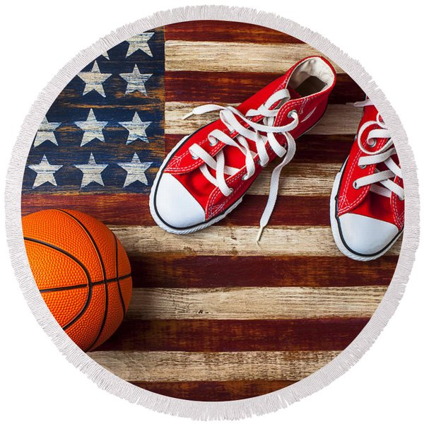 Tennis Shoes And Basketball On Flag Round Beach Towel
