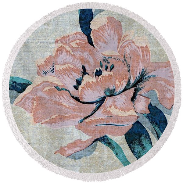 Round Beach Towel featuring the mixed media Textured Floral No.2 by Writermore Arts