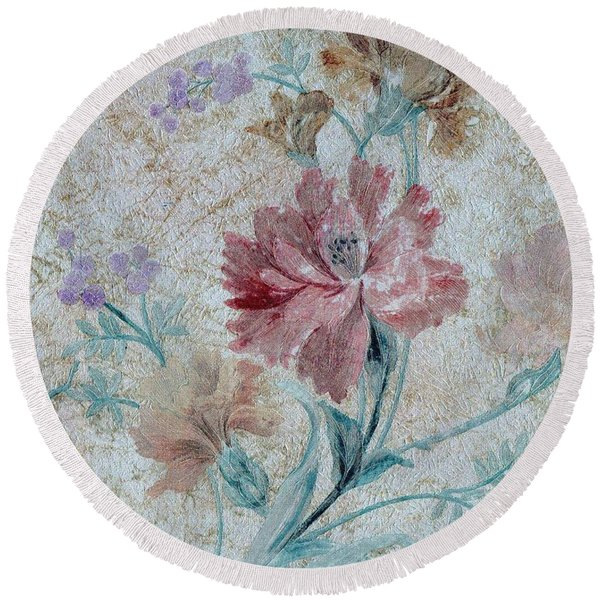 Round Beach Towel featuring the mixed media Textured Florals No.1 by Writermore Arts
