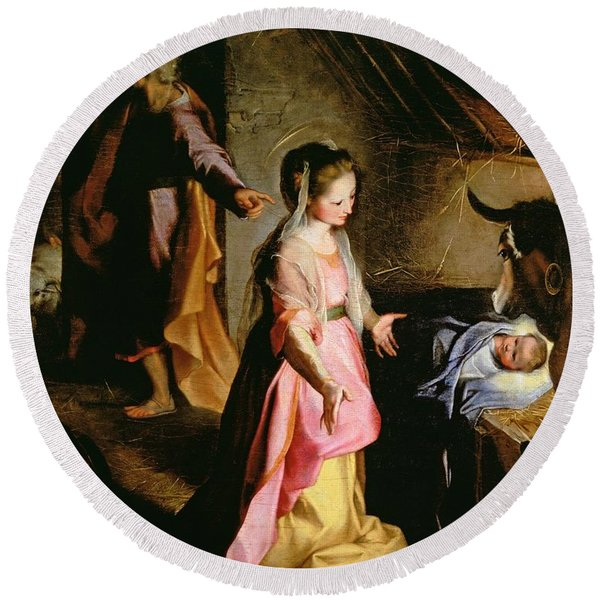 The Adoration Of The Child Round Beach Towel