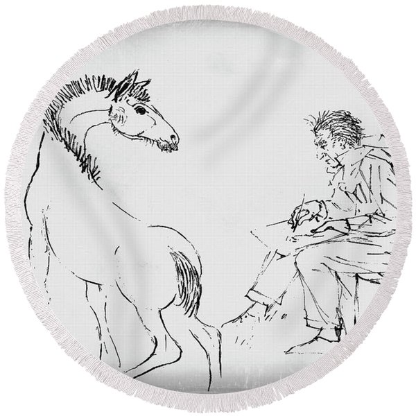 Round Beach Towel featuring the drawing The Artist by Gerlinde Keating - Galleria GK Keating Associates Inc
