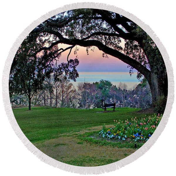 The Bay View Bench Round Beach Towel