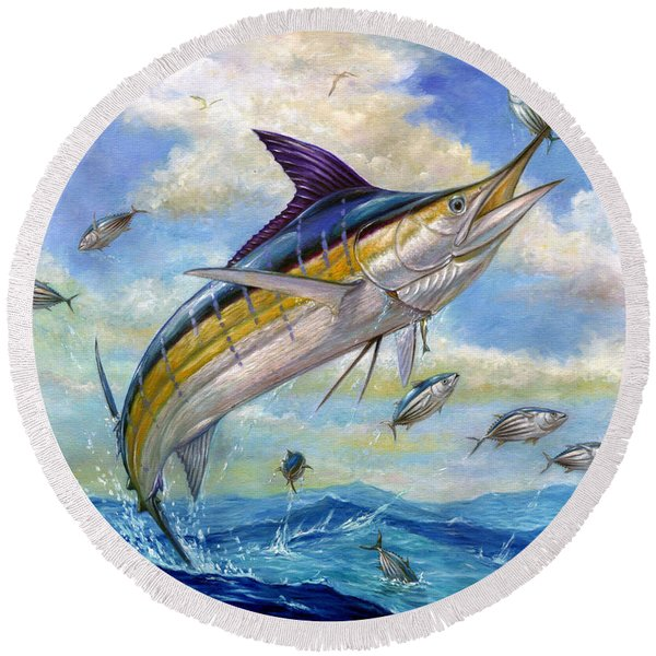 The Blue Marlin Leaping To Eat Round Beach Towel