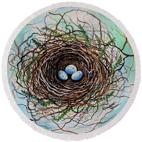 The Botanical Bird Nest Round Beach Towel