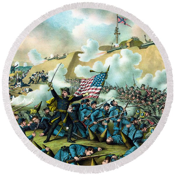 The Capture Of Fort Fisher Round Beach Towel