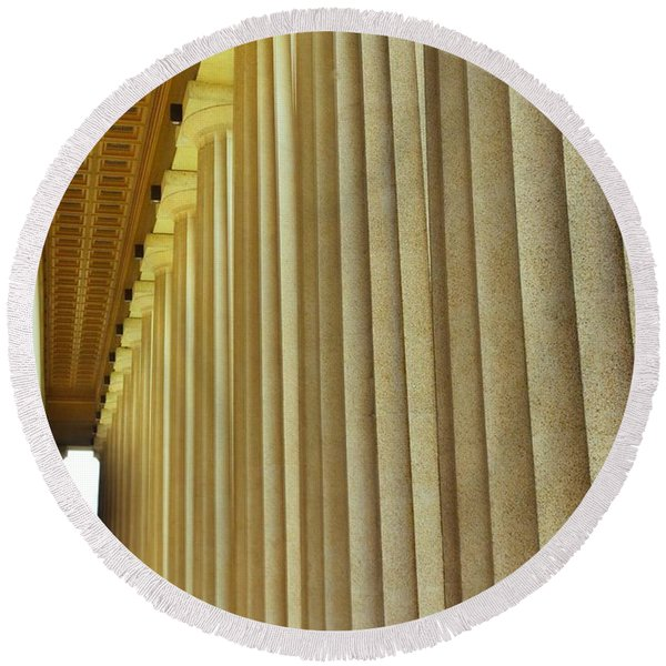 The Columns At The Parthenon In Nashville Tennessee Round Beach Towel