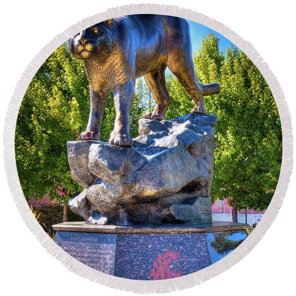The Cougar Pride Sculpture Round Beach Towel