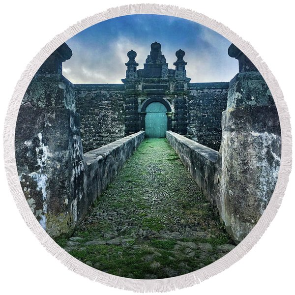 The Entrance To Fortress Of Sao Joao Baptista On Monte Brasil Round Beach Towel