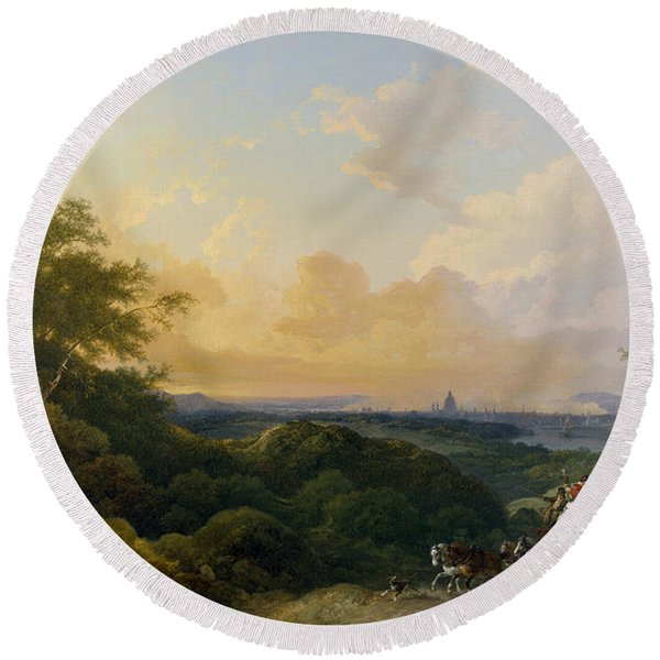 The Evening Coach, London In The Distance Round Beach Towel