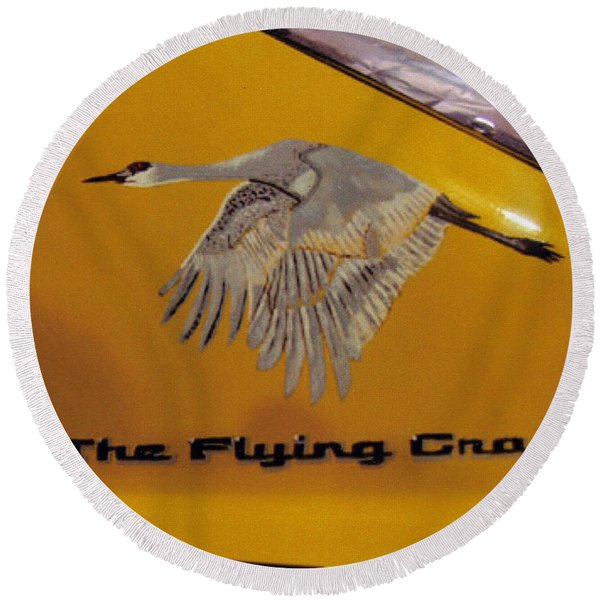 The Flying Crane Round Beach Towel