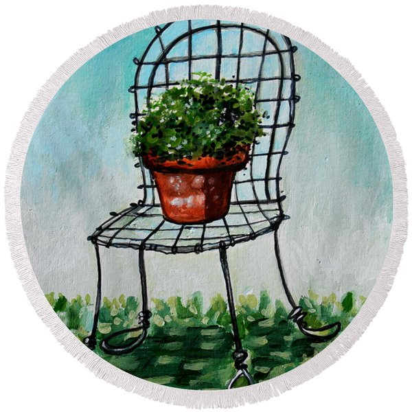 The French Garden Cafe Chair Round Beach Towel