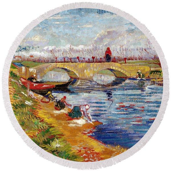 The Gleize Bridge Over The Vigneyret Canal  Round Beach Towel