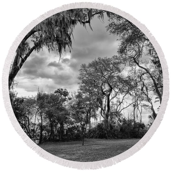 The Grounds Of Fort Caroline National Memorial Round Beach Towel