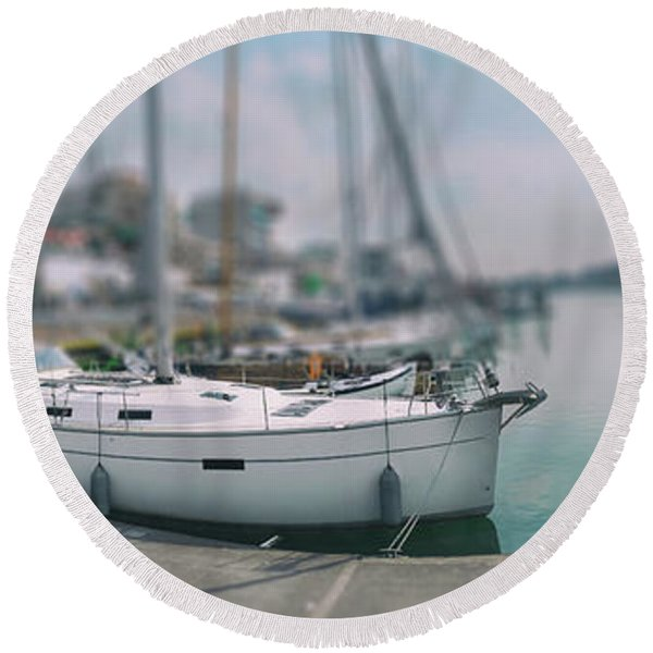 Round Beach Towel featuring the photograph the Hague local harbor by Ariadna De Raadt