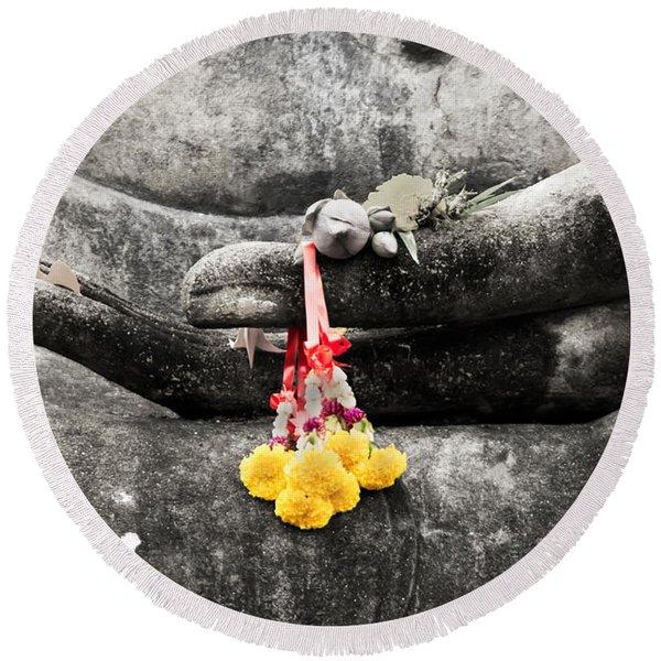 The Hand Of Buddha Round Beach Towel