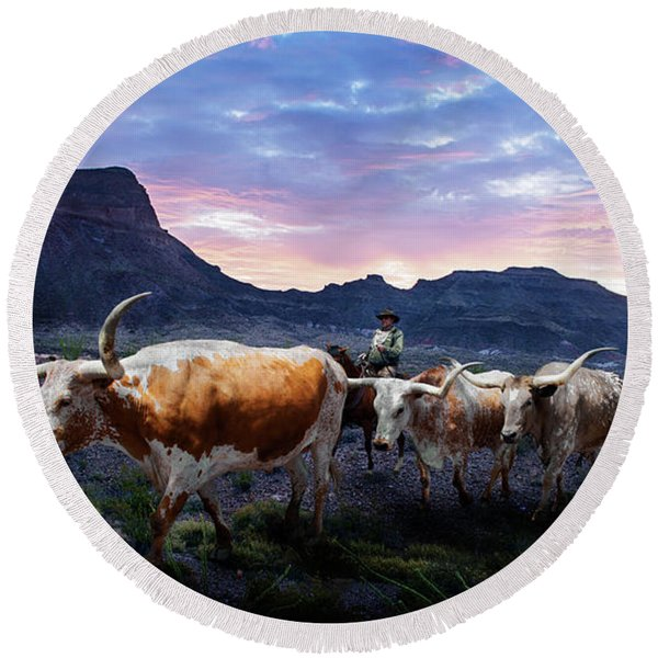 Texas Longhorns Blue Round Beach Towel